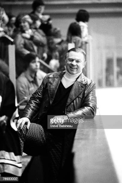 BOSTON MA 1970's Don Cherry coach of the Boston Bruins all smiles at team practice