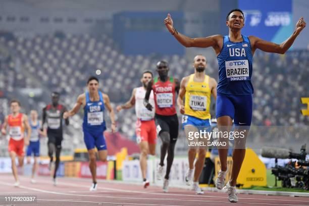 S Donavan Brazier wins the Men's 800m final at the 2019 IAAF Athletics World Championships at the Khalifa International stadium in Doha on October 1,...