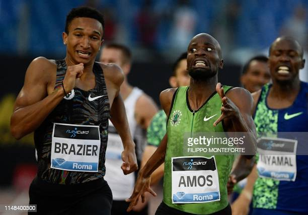S Donovan Brazier competes on his way to win the Men's 800m ahead of Botswana's Nijel Amos during the IAAF Diamond League competition on June 6, 2019...