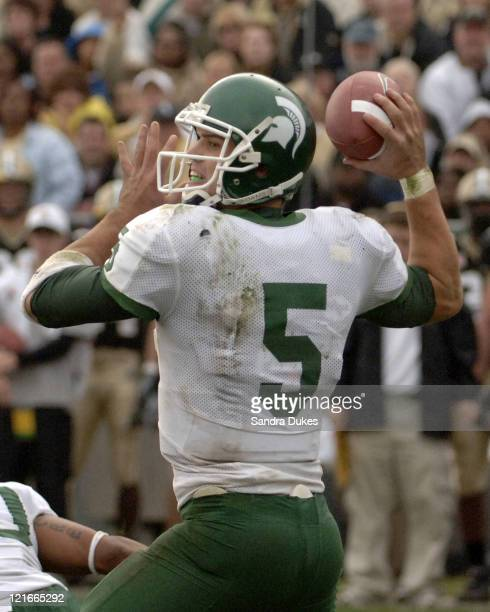 MSU's Drew Stanton prepares to throw in Purdue's 2821 win over Michigan State in Ross Ade Stadium West Lafayette IN