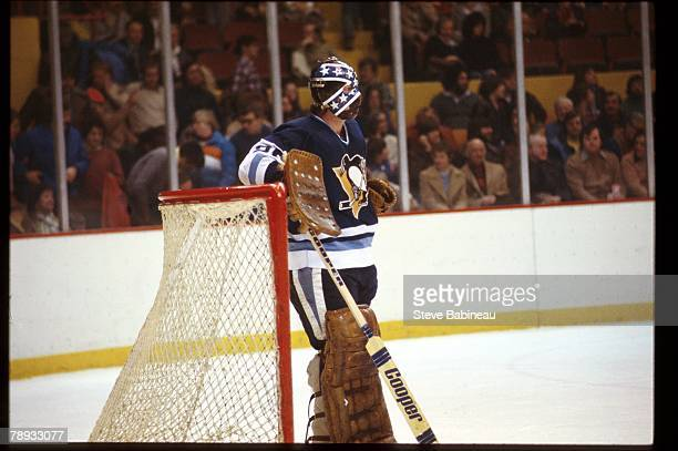BOSTON MA 1970's Dunc Wilson of the Pittsburgh Penguins in goal against the Boston Bruins