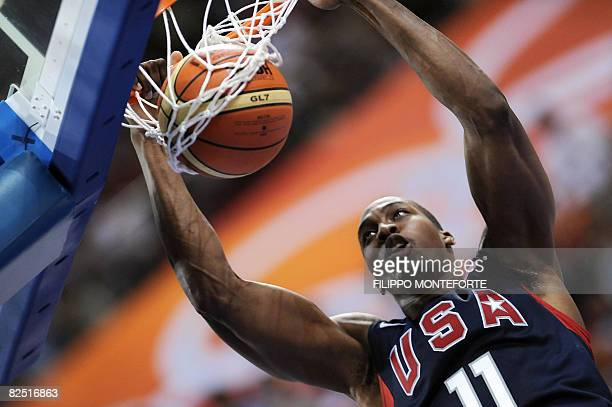 S Dwight Howard goes for a dunk during the men's semi-final basketball match Argentina against The US of the Beijing 2008 Olympic Games on August 22,...