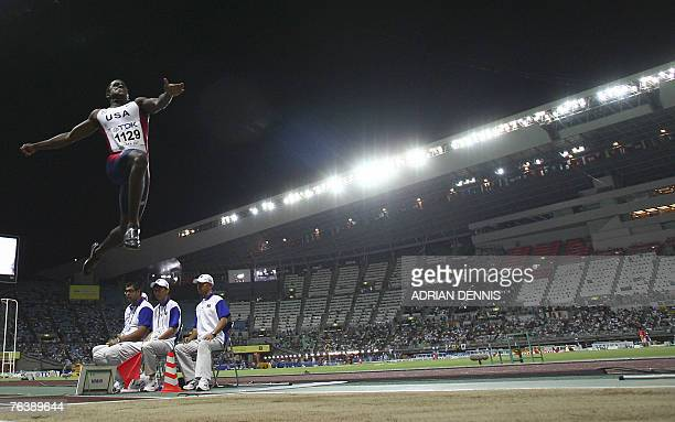 S Dwight Phillips competes during the men's long jump final, 30 August 2007, at the 11th IAAF World Athletics Championships, in Osaka. Panama's...