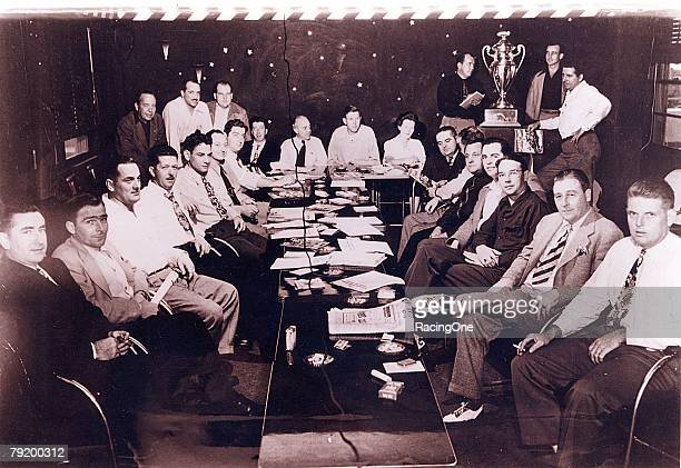 NASCAR's early leaders meet in the Streamline Hotel in Daytona Beach Seated Bob Richards Freddie Horton Jack Peters Ed Bruce Chick DiNatale Harvey...