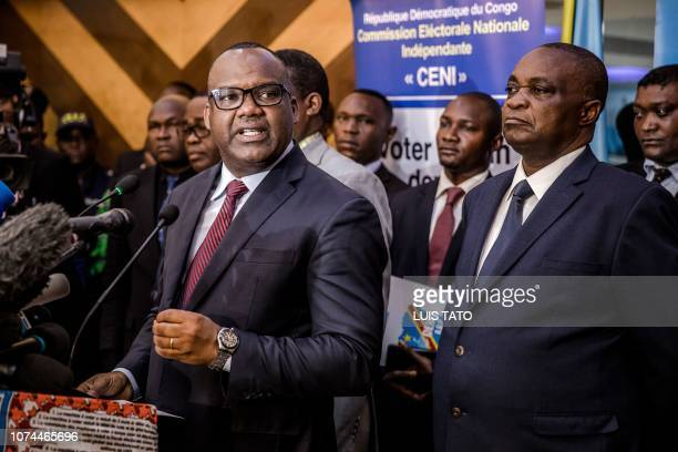 DRC's Electoral Commission President Corneille Nangaa Yobeluo speaks during a press conference at the Independent National Election Commission...