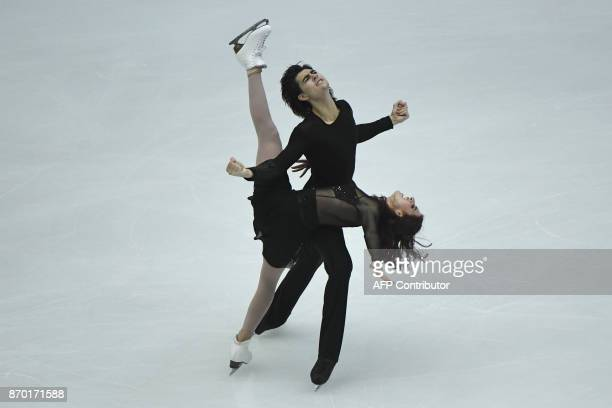 S Elliana Pogrebinsky and Alex Benoit perform during the Ice Dance Free Dance at the Cup of China ISU Grand Prix of Figure Skating in Beijing on...