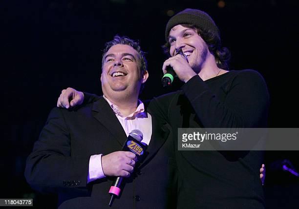 S Elvis Duran and Gavin DeGraw during Z100's Jingle Ball 2004 - Show at Madison Square Garden in New York City, New York, United States.