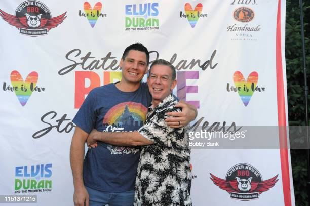 Z100's Elvis Duran and his fiance Alex Carr attends Z100's Elvis Duran Attends The 2019 Staten Island Pride Celebration on June 21 2019 in New York...