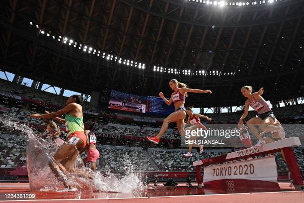 S Emma Coburn competes in the women's 3000m steeplechase heats during the Tokyo 2020 Olympic Games at the Olympic Stadium in Tokyo on August 1, 2021.