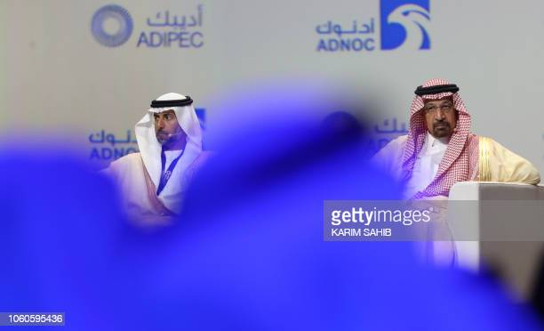 UAE's Energy Minister Suhail Mohammed Faraj alMazroui and Saudi Energy Minister Khalid alFalih attend the Abu Dhabi International Petroleum...