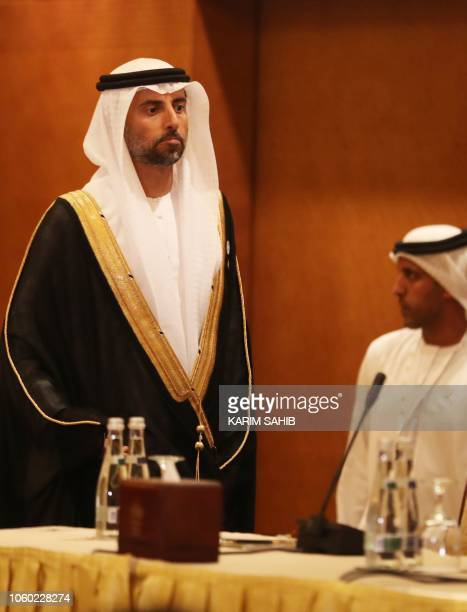 UAE's Energy Minister Suhail Mohammed Faraj alMazroui attends a meeting of the Joint Ministerial Monitoring Committee in the Emirati capital Abu...