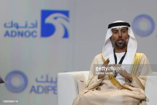UAE's Energy Minister Suhail Mohammed Faraj alMazroui attends the Abu Dhabi International Petroleum Exhibition and Conference on November 12 in the...