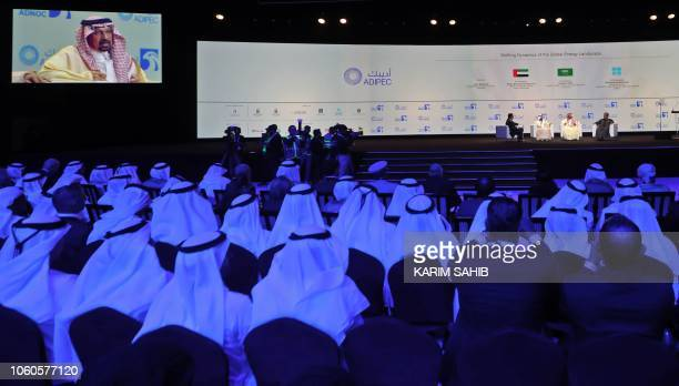 UAE's Energy Minister Suhail Mohammed Faraj alMazroui Saudi Energy Minister Khalid alFalih and OPEC Secretary General Mohammed Barkindo attend the...