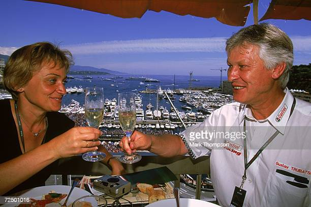 P's enjoy the food and champagne in the Jaguar hospitality suite during the Monaco Formula One Grand Prix held in Monte Carlo Monaco on May 26 2002