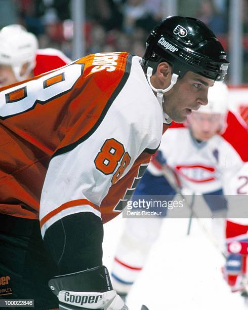 MONTREAL 1990's Eric Lindros of the Philadelphia Flyers faces off against the Montreal Canadiens in the early 1990's at the Montreal Forum in...
