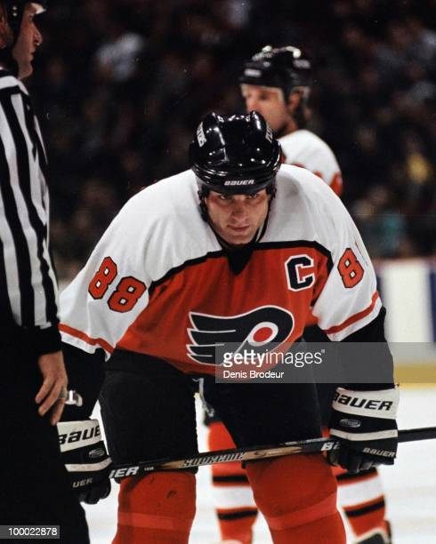 MONTREAL 1990's Eric Lindros of the Philadelphia Flyers skates against the Montreal Canadiens in the early 1990's at the Montreal Forum in Montreal...