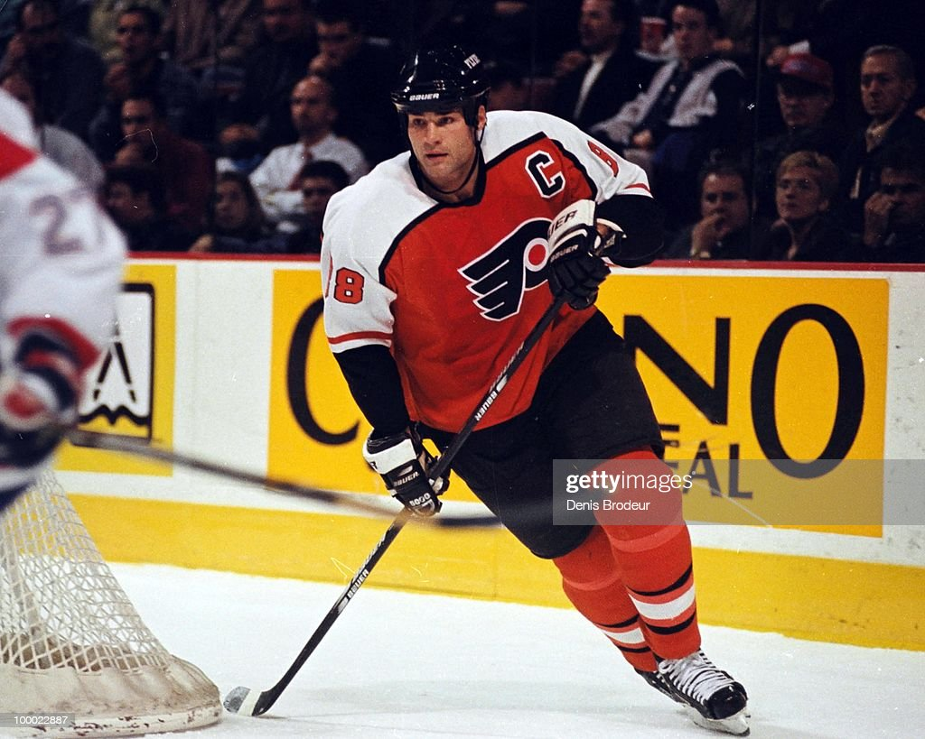 MONTREAL - 1990's: Eric Lindros #88 of the Philadelphia Flyers skates against the Montreal Canadiens in the early 1990's at the Montreal Forum in Montreal, Quebec, Canada.