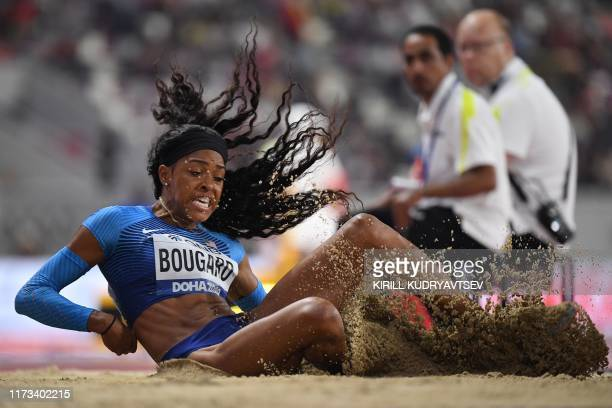 TOPSHOT USA's Erica Bougard competes in the Women's Long Jump Heptathlon heats at the 2019 IAAF Athletics World Championships at the Khalifa...