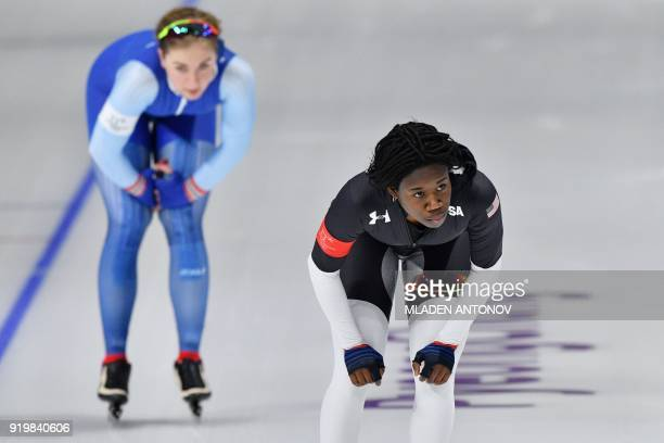 USA's Erin Jackson competes in the women's 500m speed skating event during the Pyeongchang 2018 Winter Olympic Games at the Gangneung Oval in...