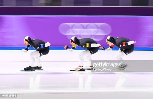 USA's Erin Jackson USA's Brian Hansen and USA's Joey Mantia compete in the men's team pursuit quarterfinal speed skating event during the Pyeongchang...