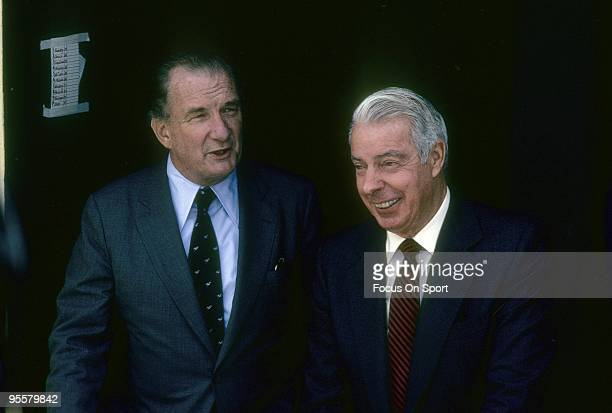 BRONX NY CIRCA 1980's Ex New York Yankee Great Outfielder Joe DiMaggio in the dougout with Baltimore Orioles owner Edward Bennett Williams circa...
