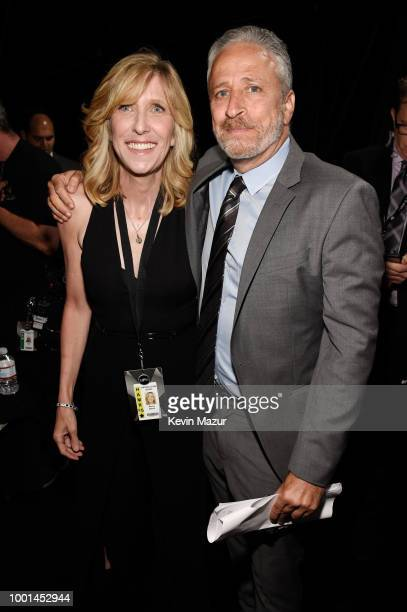 ESPY's executive producer Maura Mandt and comedian Jon Stewart attend The 2018 ESPYS at Microsoft Theater on July 18 2018 in Los Angeles California