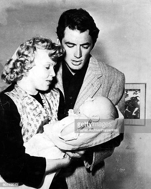 1940's Famous American film actor Gregory Peck with his wife Greta and their baby son Jonathon