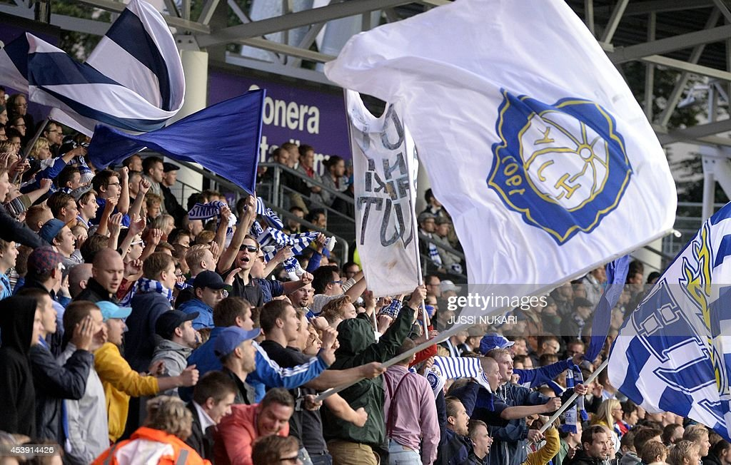 HJK's fans cheers during the first leg of the UEFA Europa League play-off football match at the Sonera Stadium in Helsinki, Finland on August 21, 2014.