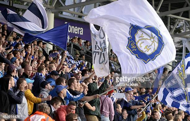 S fans cheers during the first leg of the UEFA Europa League play-off football match at the Sonera Stadium in Helsinki, Finland on August 21, 2014....