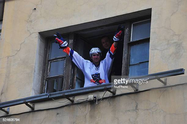 S fans seen during an event honouring HC SKA's victory in the 2014/15 Season Kontinental Hockey League in Saint-Petersburg, Russia. May, 23. 2015.