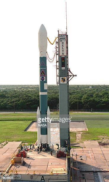 S Far Ultraviolet Spectroscopic Explorer satellite sits on Launch Pad 17A, Cape Canaveral Air Station, aboard the Boeing Delta II rocket waiting for...