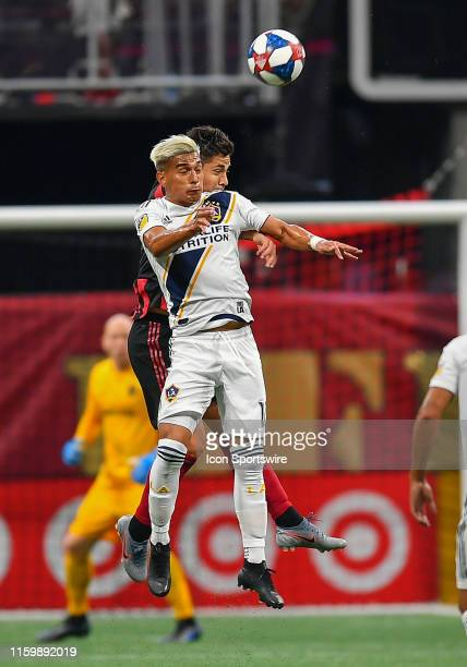 LA's Favio Alvarez heads the ball during the MLS match between LA Galaxy and Atlanta United FC on August 3rd 2019 at MercedesBenz Stadium in Atlanta...