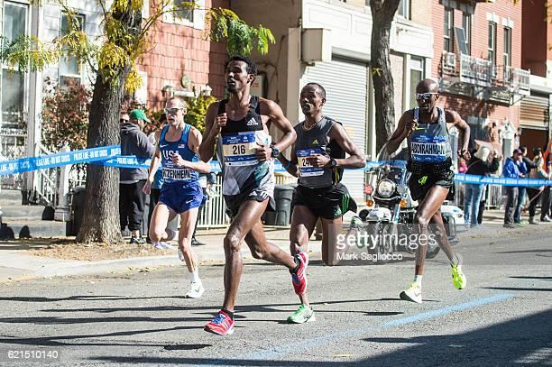 USA's Fifthteen place finisher Senbeto Geneti Guteta Sixth place finisher Tadesse Yae Dabi of USA and Third place finisher Abdi Abdirahman of USA...