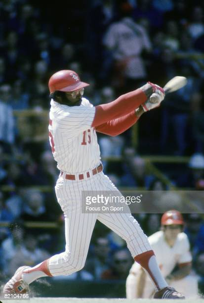 CHICAGO IL CIRCA 1970's First baseman Dick Allen of the Chicago White Sox watches the flight of his ball as he follows through on his swing during a...