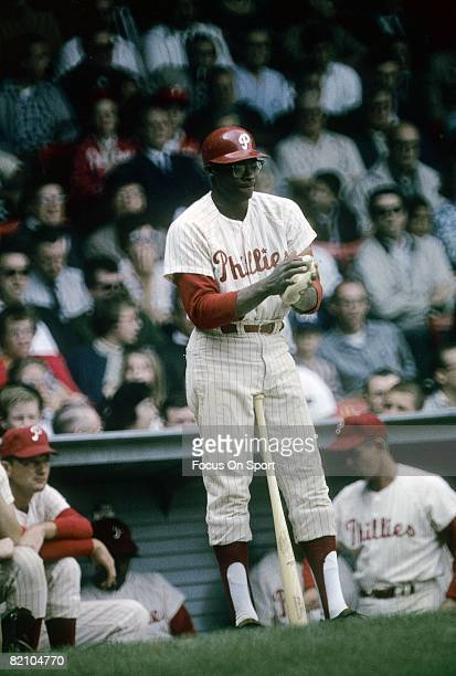 PHILADELPHIA PA CIRCA 1960's First baseman Dick Allen of the Philadelphia Phillies stands in the on deck circle preparing for his next at bat during...