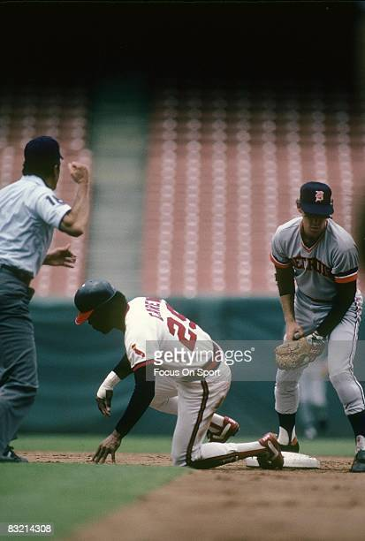 ANAHEIM CA CIRCA 1980's First baseman Rod Carew of the California Angels is called out at second base against the Detroit Tigers during a MLB...