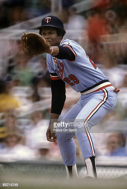 First baseman Rod Carew of the Minnesota Twins prepares for a throw during a MLB baseball game circa early 1970's. Carew played for the Twins from...