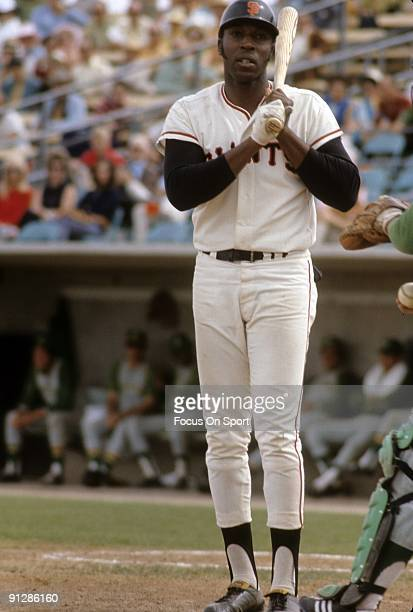 PHOENIX AZ CIRCA 1960's First baseman Willie McCovey of the San Francisco Giants standing at the plate preparing to hit against the Oakland Athletics...