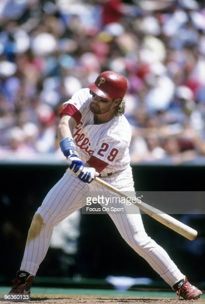 PHILADELPHIA PA CIRCA 1990's First baseman/Outfielder John Kruk of the Philadelphia Phillies checks his swing during a circa 1990's Major League...