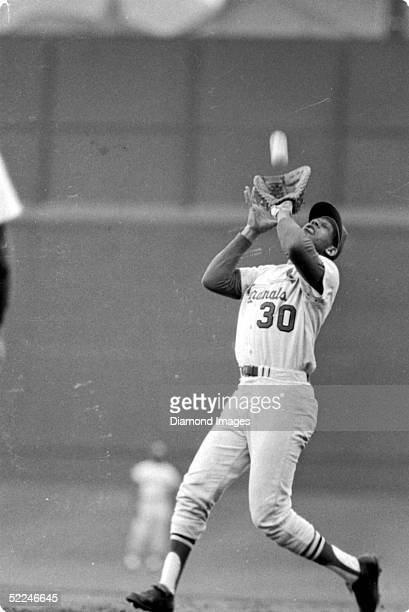 1960's Firstbaseman Orlando Cepeda of the St Louis Cardinals catches the flyball during a game in the late1960's Cepeda played for the Cardinals from...