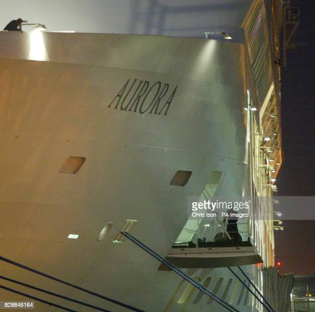 PO's flagship Aurora moored alongside the quay in the port of Southampton before dawn after a 17 day cruise around the Mediterranean which saw 500...