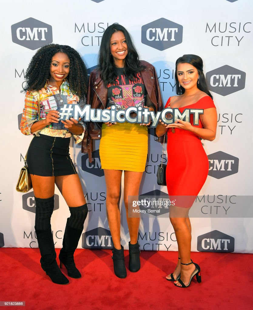 MTV's Floribama Shore cast member Candace Rice, CMt's 'Music CIty' cast member Alisa Fuller and Mtv's Floribama Shore cast member Nilsa Prowant attend CMT's 'Music City' Premiere Party at The Back Corner on February 20, 2018 in Nashville, Tennessee.