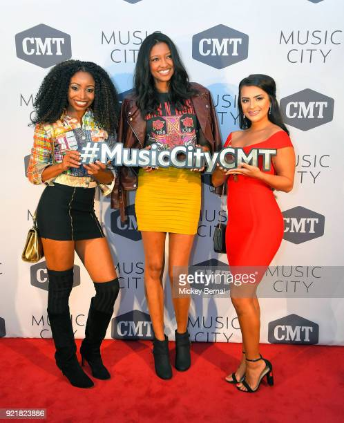 MTV's Floribama Shore cast member Candace Rice CMt's Music CIty cast member Alisa Fuller and Mtv's Floribama Shore cast member Nilsa Prowant attend...