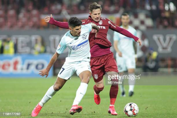 FCSB's Florinel Coman and CFR Cluj's Ciprian Deac during the Liga I match between CFR Cluj and FCSB at DrConstantinRadulescuStadium on February 2...