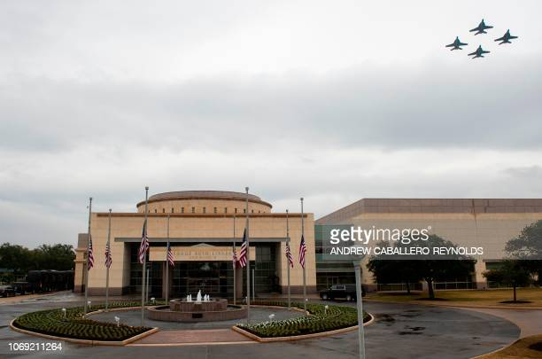 F/A18's fly overhead before the interment ceremony of former US President George HW Bush at the George HW Bush Presidential Library and Museum in...
