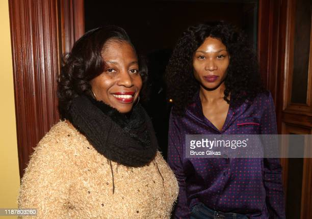 NY1's Fonda Sanders and guest pose at the celebration for the North of 40 Podcast Launch at Dapper Dan Atelier on November 14 2019 in New York City