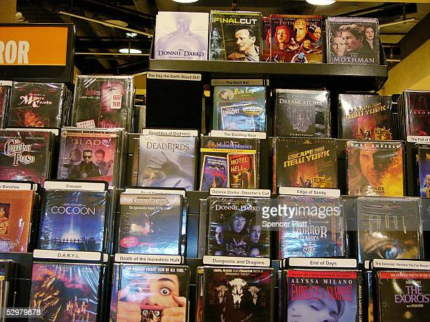 DVD's for sale stand on display in a store May 25 2005 in New York City According to a report issued this week by the Book Industry Study Group the...