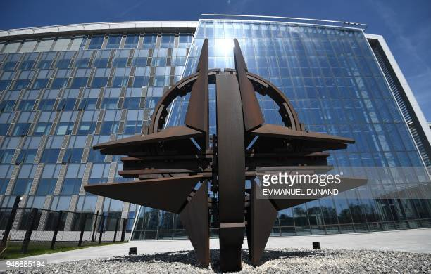 S forecourt sculpture, also known as the 'NATO Star', is pictured at the new NATO headquarters during a press tour of the facilities as the...