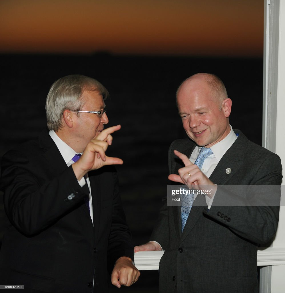 UK's Foreign Minister William Hague (R) speaks with Australia's Foreign Minister Kevin Rudd at a reception at Cottesloe Beach during the Commonwealth Heads of Government Meeting (CHOGM) on October 28, 2011 near Perth, Australia. Queen Elizabeth II opened the 54-nation summit today, following a 9-day tour of Australia. The three-day biennial gathering is chaired by Australian Prime Minister, Julia Gillard and concludes on October 30.