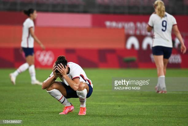 S forward Carli Lloyd reacts to the loss during the Tokyo 2020 Olympic Games women's semi-final football match between the United States and Canada...
